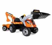 Smoby vaikiškas minamas traktorius-buldozeris su kaušu ir priekaba | Builder | Smoby