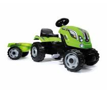 Smoby vaikiškas minamas žalias traktorius su priekaba | FARMER XL | Smoby