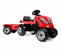 Vaikiškas minamas raudonas traktorius su priekaba | FARMER XL | Smoby