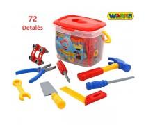 Vaikiškas įrankių rinkinys su konstravimo detalėmis 72 vnt dėžėje | Wader 47151