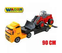 Žaislinis sunkvežimis vilkikas 90 cm su ekskavatoriumi | Wader 36896