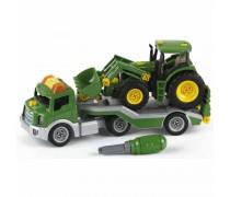 Žaislinė mašina su priekaba ir traktoriumi bei įrankiais | John Deere | Klein