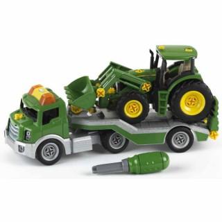 Žaislinė mašina su priekaba ir traktoriumi bei įrankiais | John Deere | Klein 3908