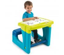 Dvipusis vaikiškas stalas su suoliuku 420101 | Žalias | Smoby
