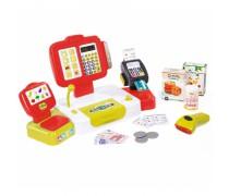 Vaikiškas raudonas elektroninis kasos aparatas su priedais 27 vnt. | Smoby 350107