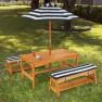 Medinis vaikiškas staliukas su 2 suoliukais ir skėčiu | KidKraft 00106