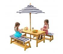 Medinis vaikiškas staliukas su suoliukais ir skėčiu | mėlynas 2018 | KidKraft