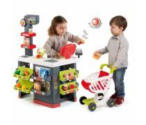 Vaikiškas raudonas supermarketas su vežimėliu ir priedais 42 vnt | Smoby
