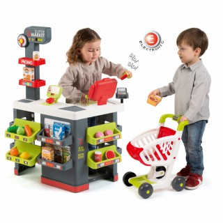 Vaikiškas raudonas supermarketas su vežimėliu ir priedais 42 vnt   Smoby 350213