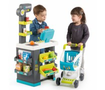 Vaikiška parduotuvėlė su vežimėliu ir priedais 34 vnt | Supermarketas | Smoby