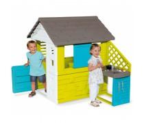 Žaidimų namelis su virtuvėlė ir priedais | Pretty Play House + kitchen | Smoby 810711