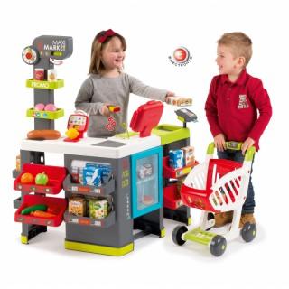 Vaikiška parduotuvė Maxi su vežimėliu ir priedais 50 vnt | Smoby 350215