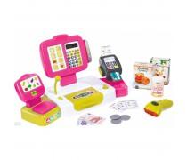 Žaislinis interaktyvus rožinis kasos aparatas su priedais 27 vnt | Smoby