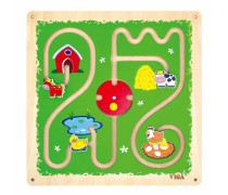 Daugiafunkcis medinis sieninis žaidimas labirintas | Ferma | Viga Toys