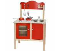 Medinė raudona klasikinė virtuvė su priedais | Viga
