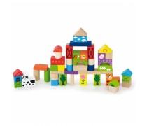 Medinės kaladėlės 50 vnt. | Ferma | Viga Toys