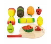 Medinių pjaustomų vaisių rinkinys dėžutėje | Viga Toys
