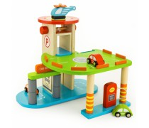 Vaikiškas medinis garažas su priedais | Viga Toys