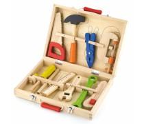 Vaikiškas medinis įrankių rinkinys lagamine | Viga Toys