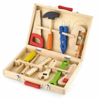 Vaikiškas medinis įrankių rinkinys lagamine | Viga 50387