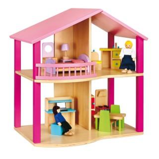 Medinis lėlių namas | Dollhouse Pink | Viga