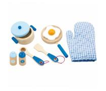 Žaislinis medinis pusryčių rinkinys | Mėlynas | Viga Toys
