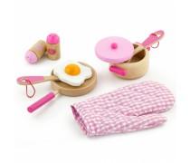 Žaislinis medinis pusryčių rinkinys | Rožinis | Viga