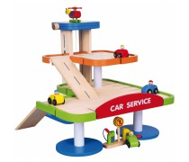 Vaikiškas medinis trijų aukštų garažas su priedais | Viga 59690