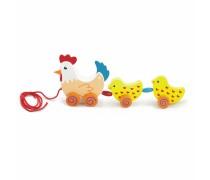 Traukiamas medinis žaislas | Višta su 2 viščiukais | Viga 50078