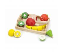 Vaikiškas medinis padėklas su pjaustomais mediniais vaisiais | Viga 58806