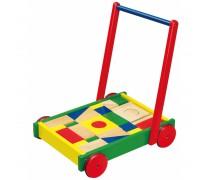 Vaikiškas medinis vežimėlis su kaladėlėmis 36 vnt | Viga 50306