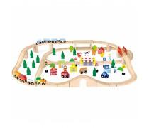 Žaislinė medinė traukinių trasa | Viga 50998