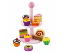 Žaislinis medinis serviravimo indas su pyragėliais | Viga 59593