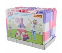 Didelės konstruktoriaus kaladėlės XXL 45 vnt su jungtimis | pastelinių spalvų | Wader