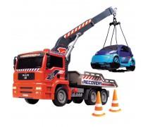 Sunkvežimis vilkikas 31 cm su kranu ir mašina | Air Pump Crane Truck | Dickie 3806000