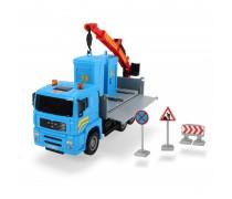Sunkvežimis 30 cm su kranu ir 2 Toi-Toi biotualetais | MAN Heavy City | Dickie 3744003