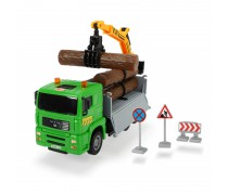 Sunkvežimis 30 cm su kranu ir rąstais | MAN Heavy City | Dickie 3744003