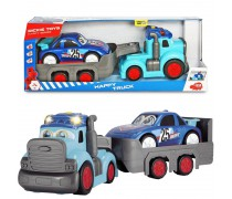 Sunkvežimis su priekaba ir lenktyniniu automobiliu | Happy truck | Dickie 3819011