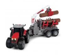 Žaislinis traktorius 42 cm su rąstais | Massey Ferguson | Dickie 3737003