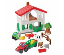 Kaladėlių rinkinys - ferma su namu, mašinomis ir gyvūnais | Abrick | Ecoiffier