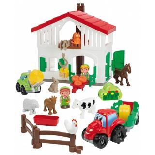 Kaladėlių rinkinys - ferma su namu, mašinomis ir gyvūnais | Abrick | Ecoiffier 3021