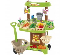 Žaislinė vaisių ir daržovių parduotuvė su vežimėliu ir priedais 35 vnt. | Ecoiffier 1741