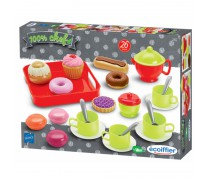 Žaislinis pusryčių rinkinys su padėklu | 26 priedai | Ecoiffier 2612