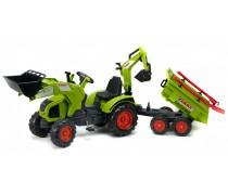 Minamas traktorius su kaušu, buldozeriu ir priekaba vaikams 3-7 metų | Claas Axos 330 | Falk 1010WH