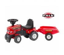 Paspiriamas raudonas traktorius su priekaba | Farm Mustang | Falk