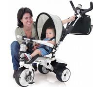 Vaikiškas triratis su nuimama rankena ir krepšiu | Pilkas Deluxe City Max | Injusa 327
