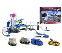 Žaislinis 3-jų aukštų oro uostas ir 5 transporto priemonės | Majorette