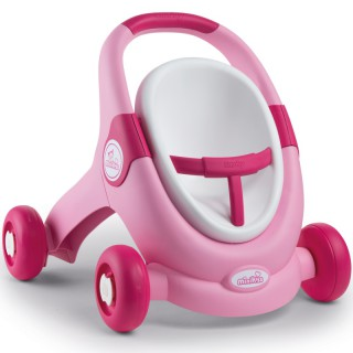 Rožinis vežimėlis stumdukas vaikštukas 3in1 | MiniKiss | Smoby 210205