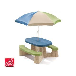 Iškylos stalas su suoliukais ir skėčiu | Step2 8438