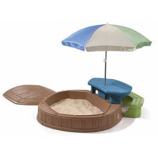 Smėlio dėžė su dangčiu, stalu, suoliuku ir skėčiu | Step2 8437